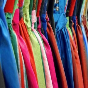 Dirndl on rack for rent in different colors
