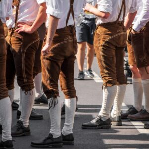 Guys in rented oktoberfest outfits at oktoberfest